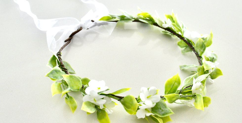White Jasmin And Greenery Wedding Flower Crown