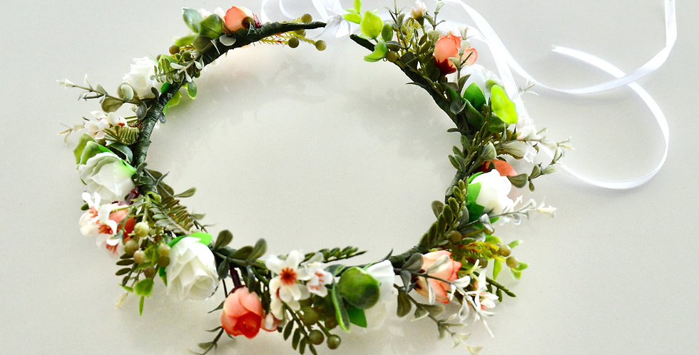 Rustic Apricot And White Flower Crown