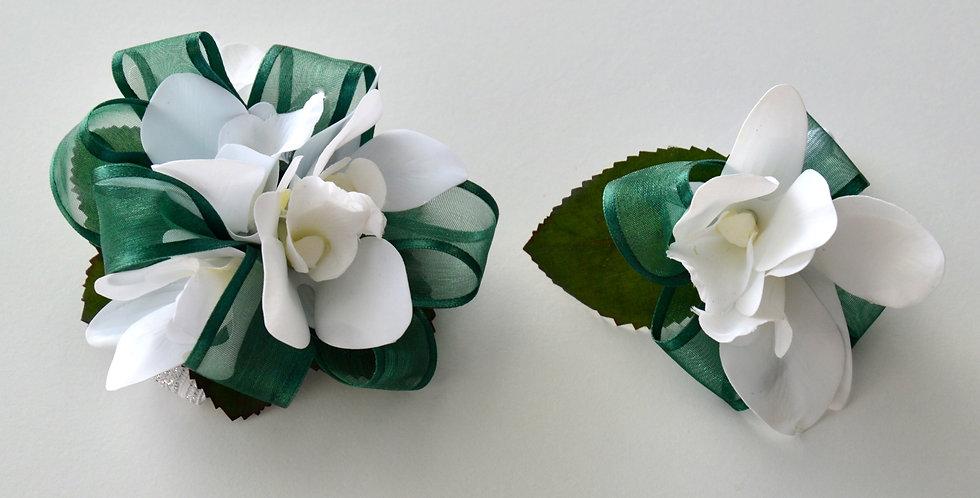 Emerald & White School Ball Wrist Corsage & Buttonhole