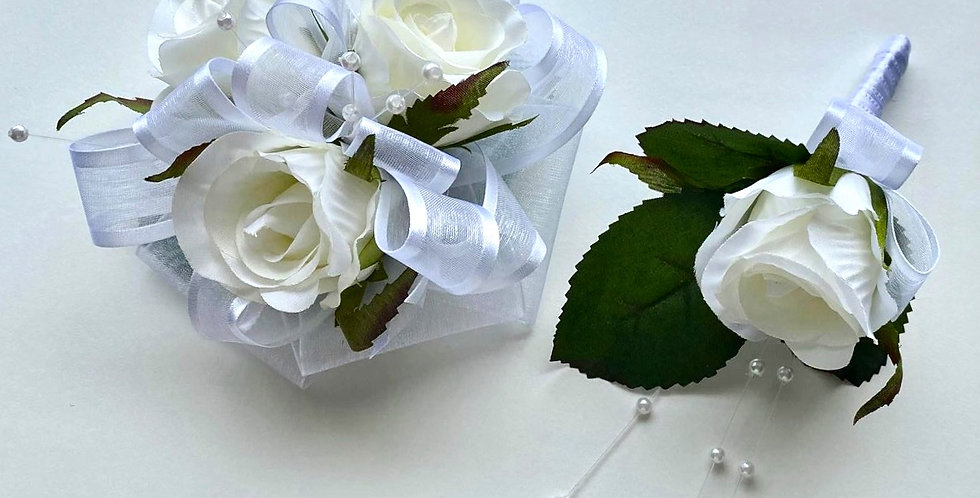 Deluxe White Rose Wrist Corsage And Buttonhole