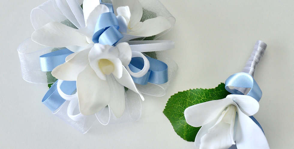 Pale Blue And White Orchid Wrist Corsage And Buttonhole