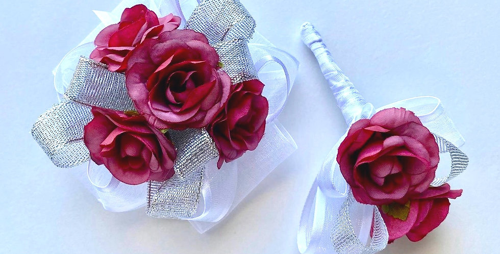 Magenta Pink And Silver Rose Wrist Corsage And Buttonhole
