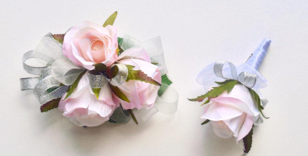 Pale Pink & Silver School Ball Wrist Corsage & Buttonhole