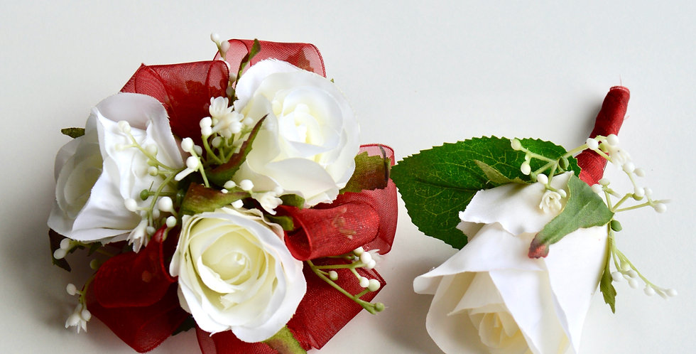 White Rose And Burgundy Wrist Corsage And Buttonhole