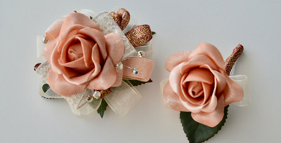 Rose Gold School Ball Wrist Corsage & Buttonhole