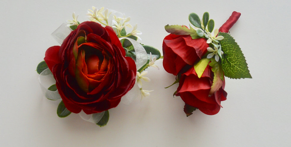 Red Rose Wrist Corsage & Buttonhole