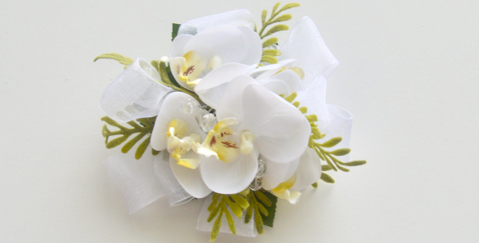 Rustic White Orchid School Ball Wrist Corsage