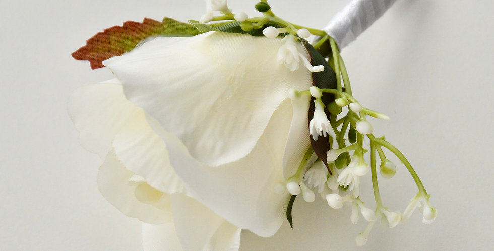 White Rose & Babies Breath Groomsmen's Buttonhole