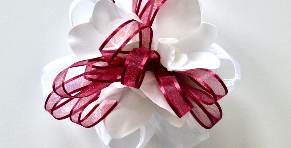 Maroon And White Orchid Wrist Corsage
