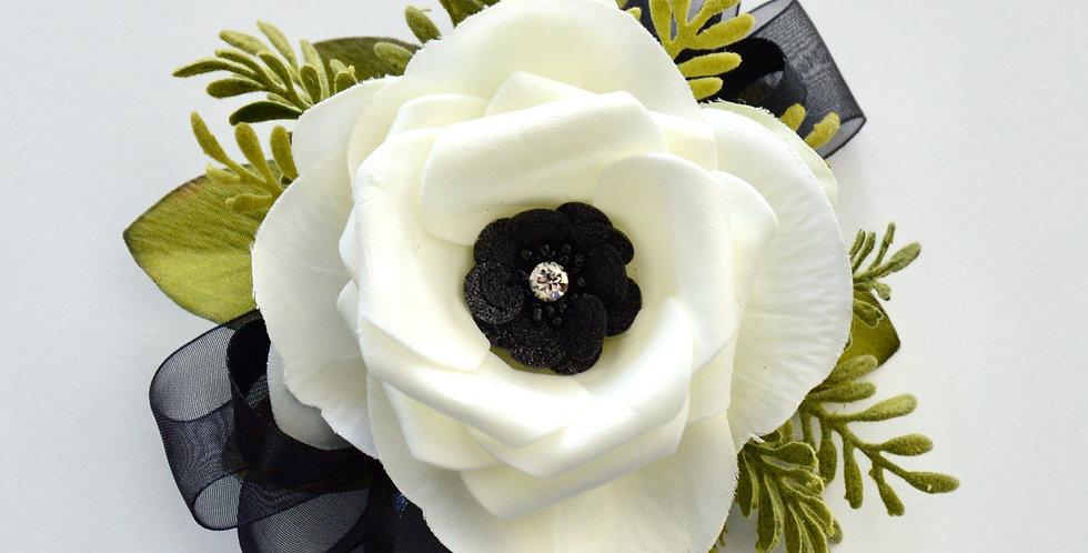 Black And White Composite Wrist Corsage
