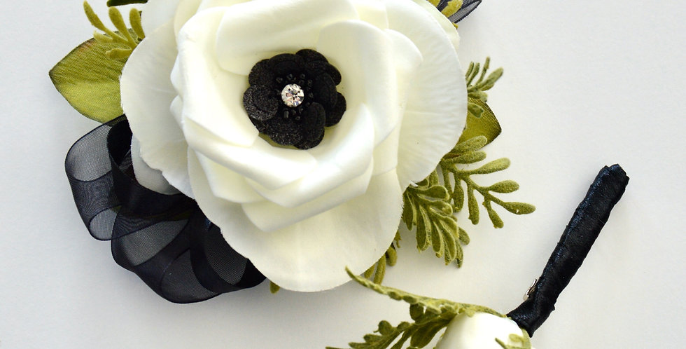 Black And White Composite Wrist Corsage And Buttonhole