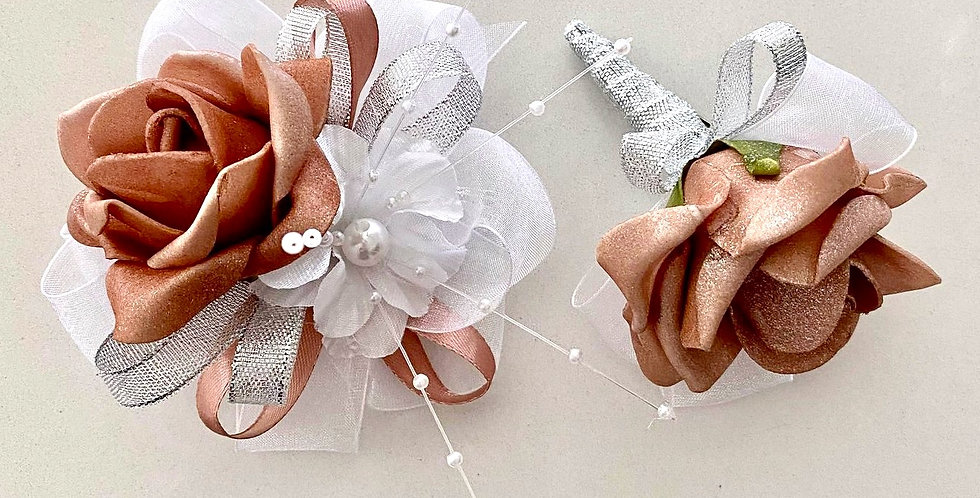 Rose Gold And Silver Wrist Corsage And Buttonhole