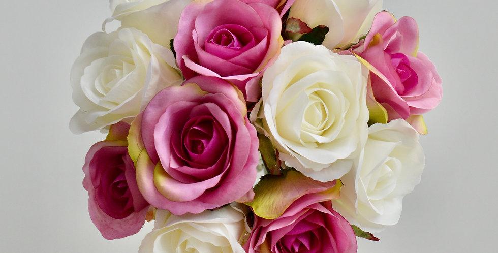 Bright Pink & White Rose Wedding Bouquet