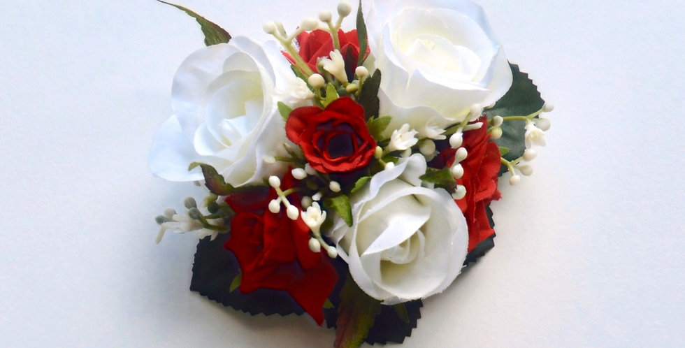 White & Red Rose School Ball Wrist Corsage