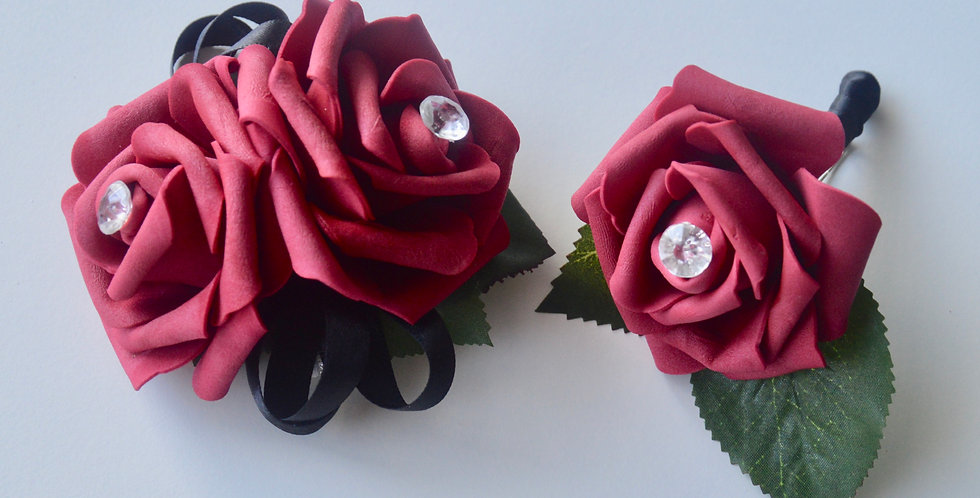 Red Rose, Diamond Wrist Corsage & Buttonhole