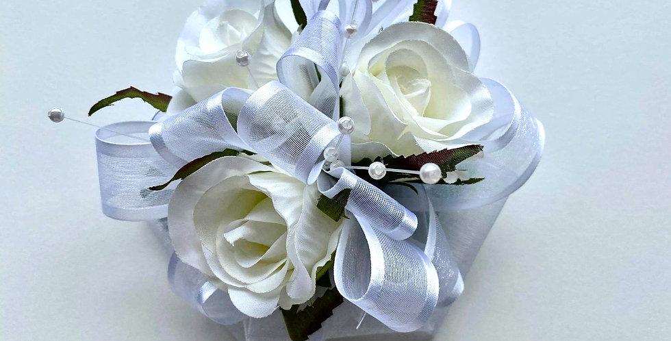 Deluxe White Rose Wrist Corsage