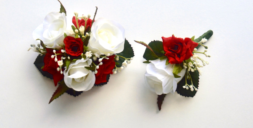 White & Red Rose School Ball Wrist Corsage & Buttonhole