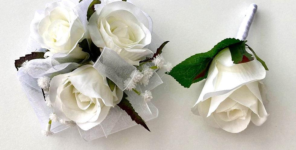 White Rose/Large Babies Breath School Ball Wrist Corsage & Buttonhole