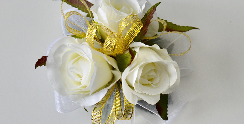 White Rose With Gold School Ball Wrist Corsage