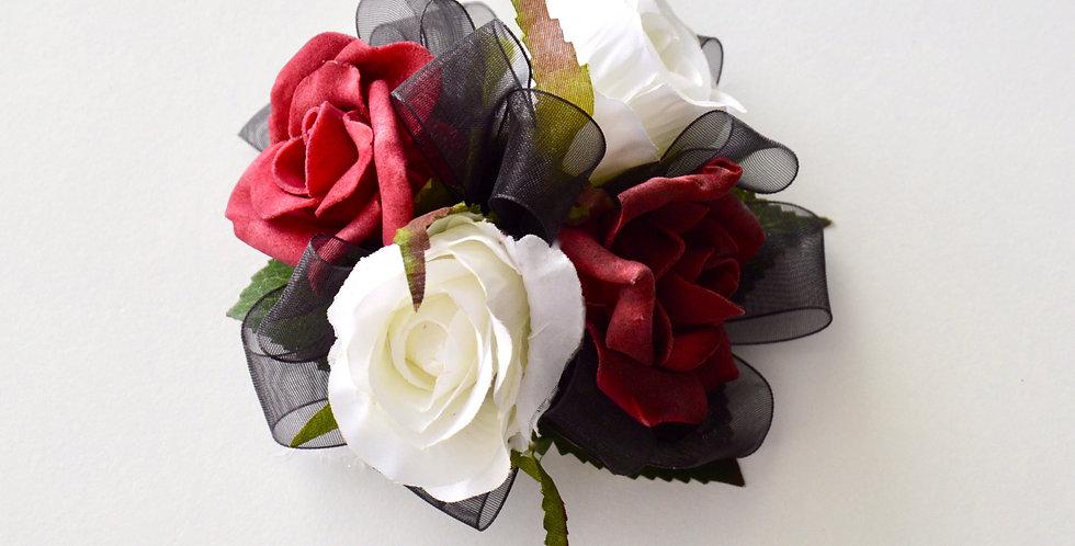 Dark Red & White Rose, Black Ribbon Wrist Corsage