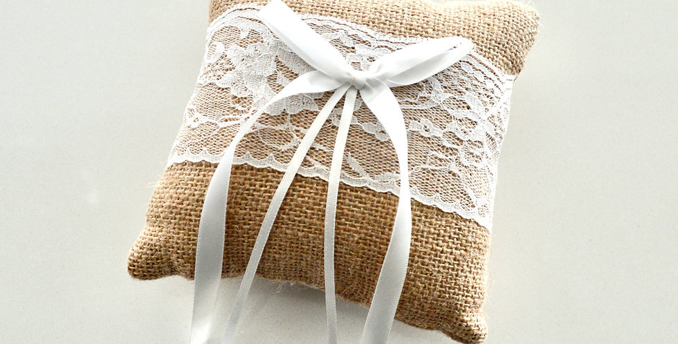Burlap And Lace Ring Cushion