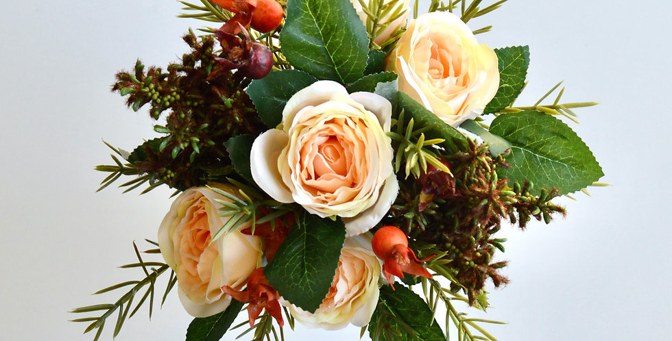 Rustic Style Apricot Rose Wedding Bouquet