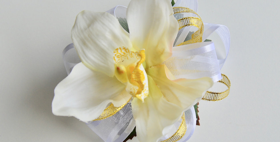 White & Gold School Ball Wrist Corsage