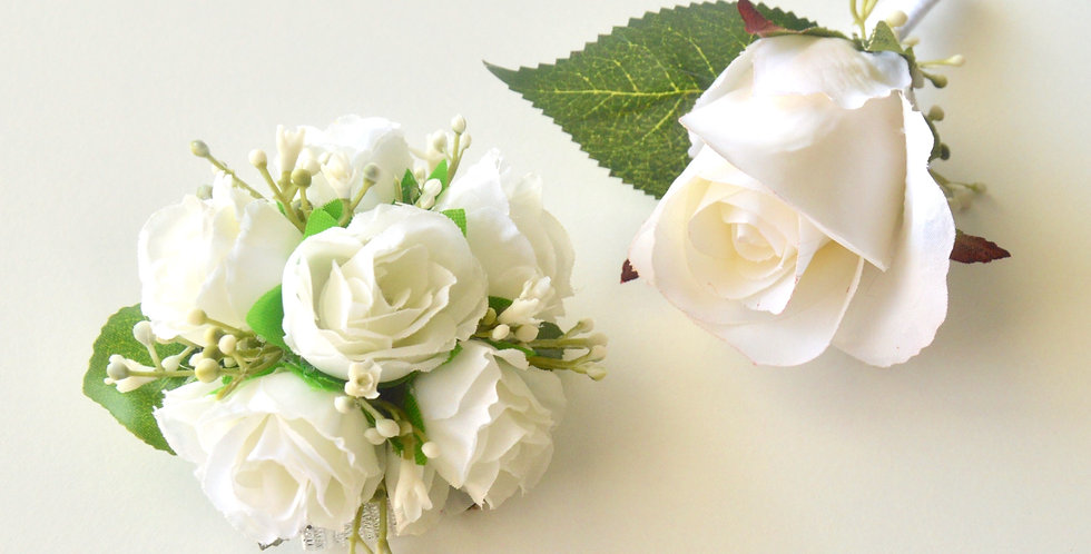 White Spray Rose Wrist Corsage And Buttonhole