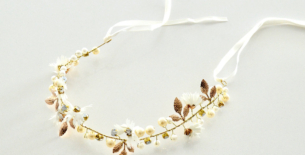 Decorative Gold And White Bridal Crown