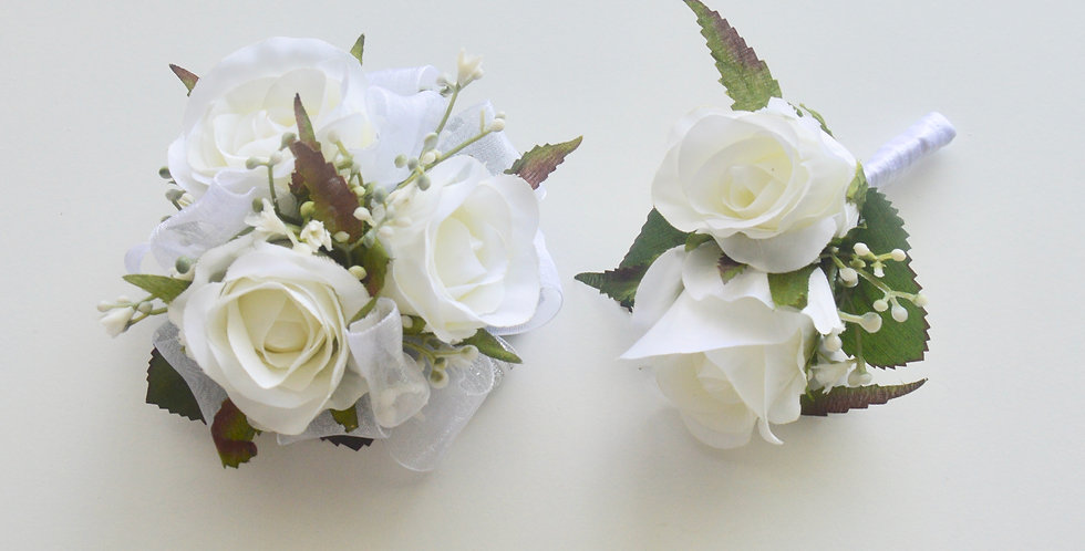 White Rose & Babies Breath School Ball Wrist Corsage & Buttonhole