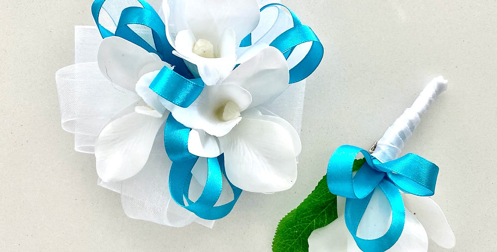 Turquoise And White Wrist Corsage And Buttonhole