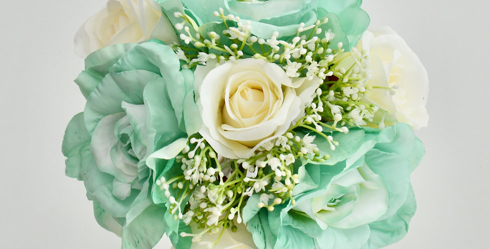 Turquoise & White Rose Wedding Bouquet