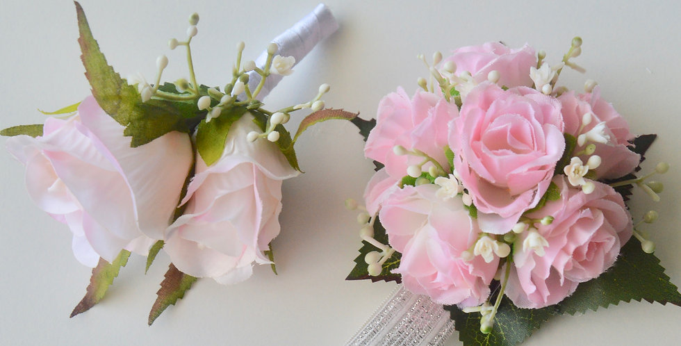 Pale Pink Rose Spray Wrist Corsage And Buttonhole