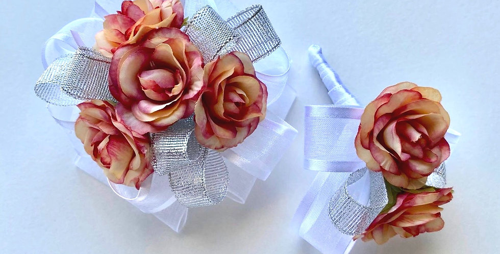 Tropical Rose Wrist Corsage And Buttonhole