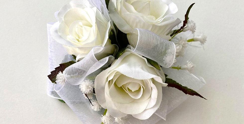 White Rose/Large Babies Breath School Ball Wrist Corsage