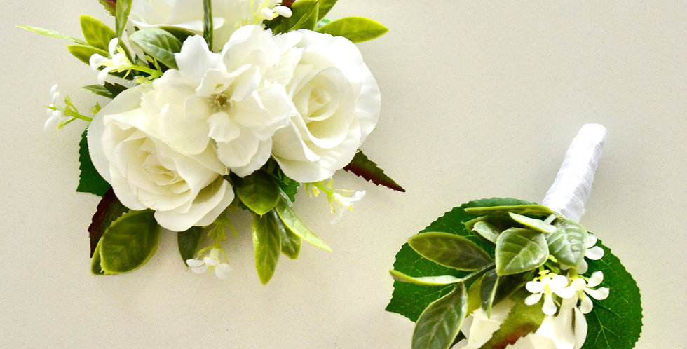 Rustic White Rose Wrist Corsage And Buttonhole