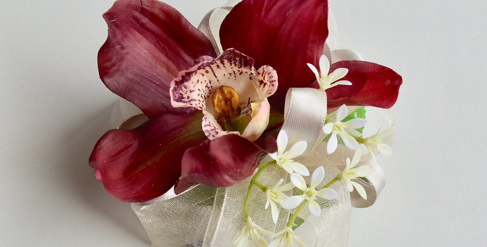 Burgundy Orchid School Ball Wrist Corsage