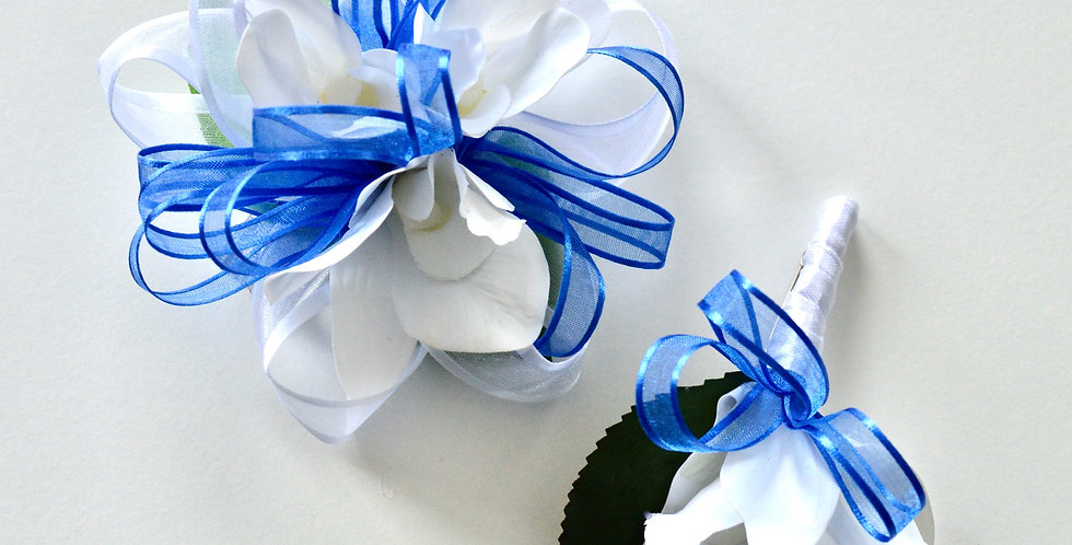 Electric Blue And White Orchid Wrist Corsage And Buttonhole
