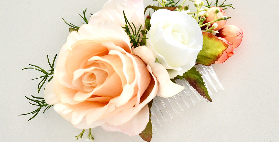 Apricot And White Rose Bridal Hair Comb
