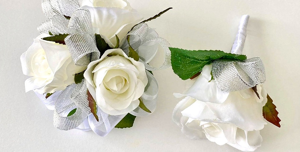 White & Silver Rose School Ball Wrist Corsage & Buttonhole