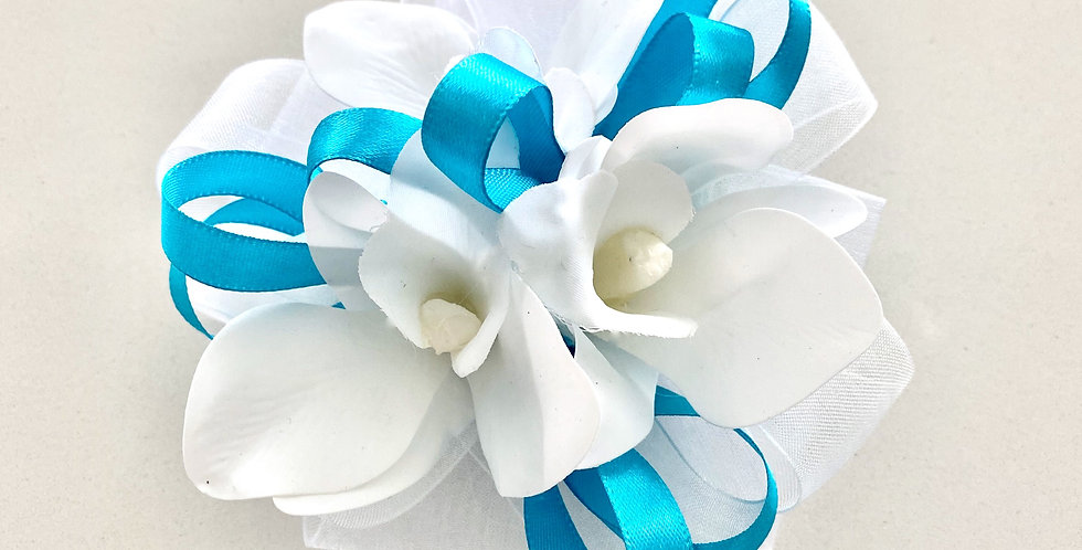 Turquoise And White Wrist Corsage