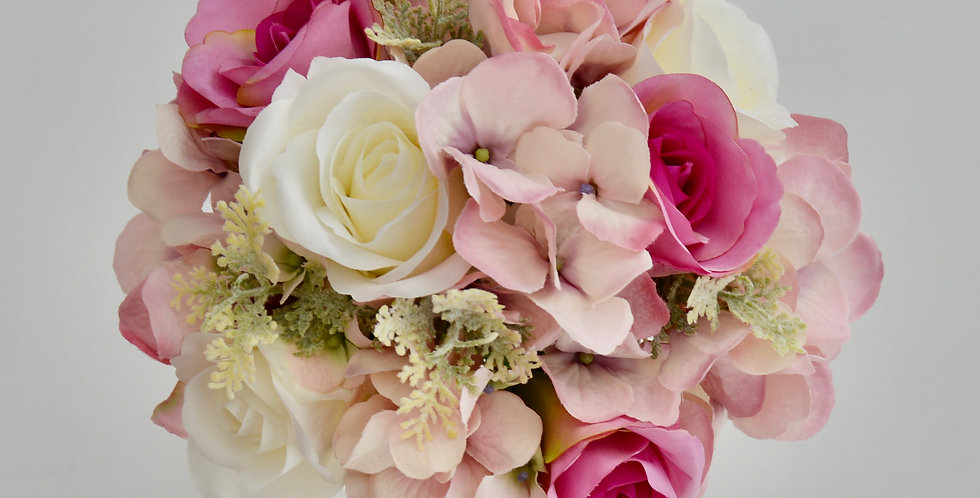 Pink & White Rose, Hydrangea Wedding Bouquet