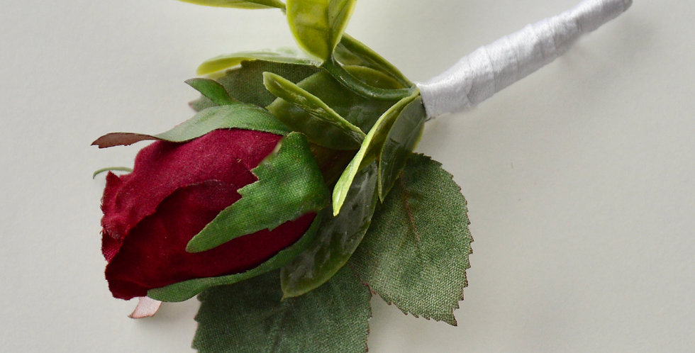 Rustic Magenta Rose Bud Groomsmen's Buttonhole