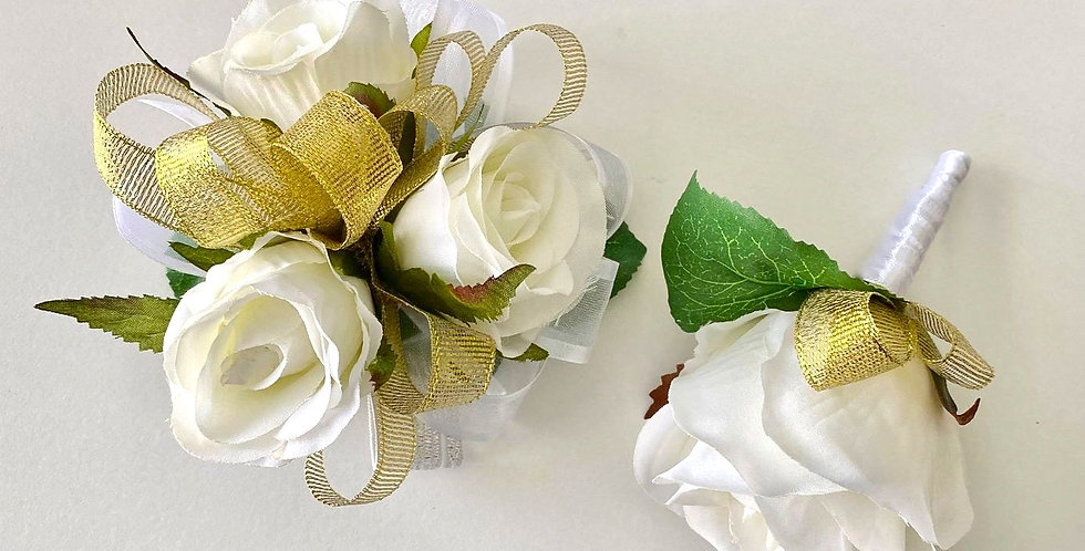 White Rose With Gold School Ball Wrist Corsage & Buttonhole