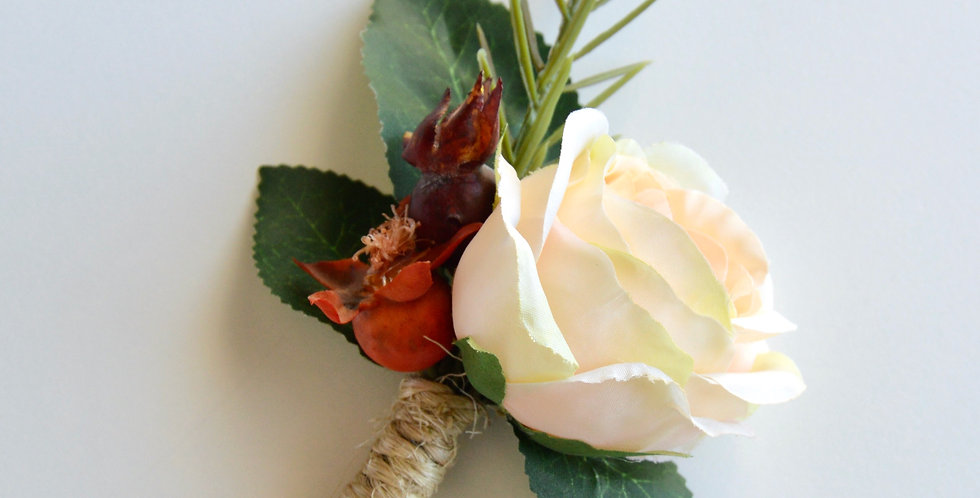 Rustic Style Apricot Rose Groomsmen's Wedding Buttonhole
