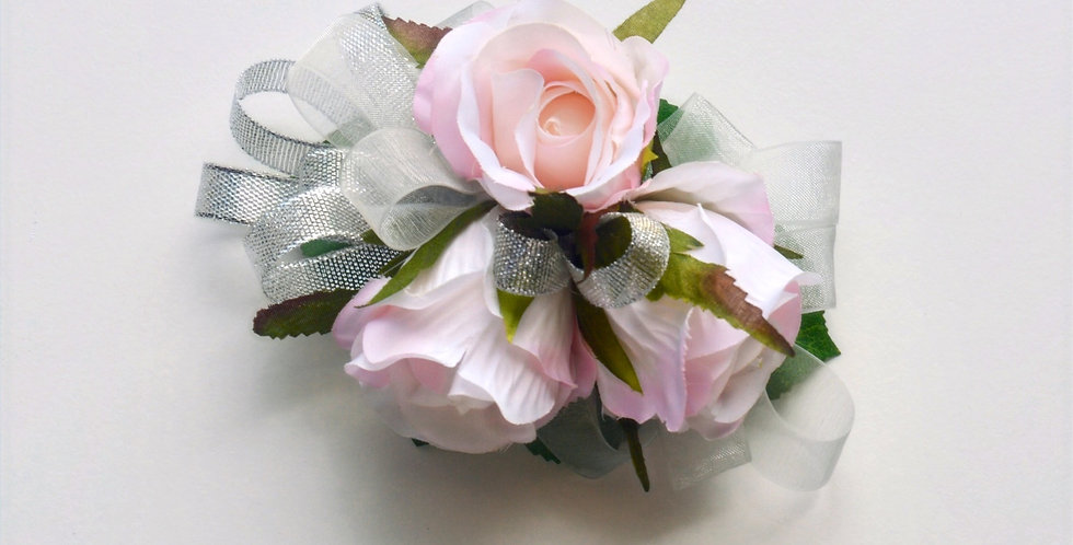 Pale Pink & Silver School Ball Wrist Corsage