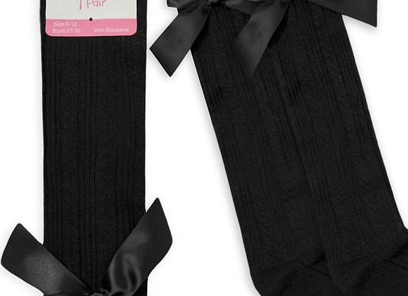 Black bow socks