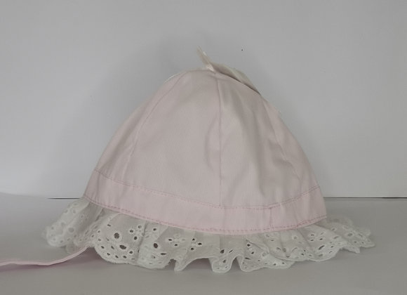 Pink and white hat