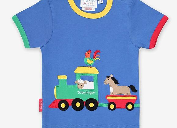 Toby tiger organic applique animal T-shirt