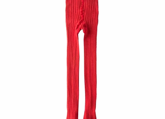 Newness red ribbed tights